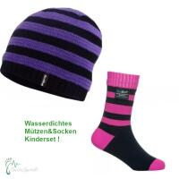 Kinder Winter Mütze & Socken Set lila/pink