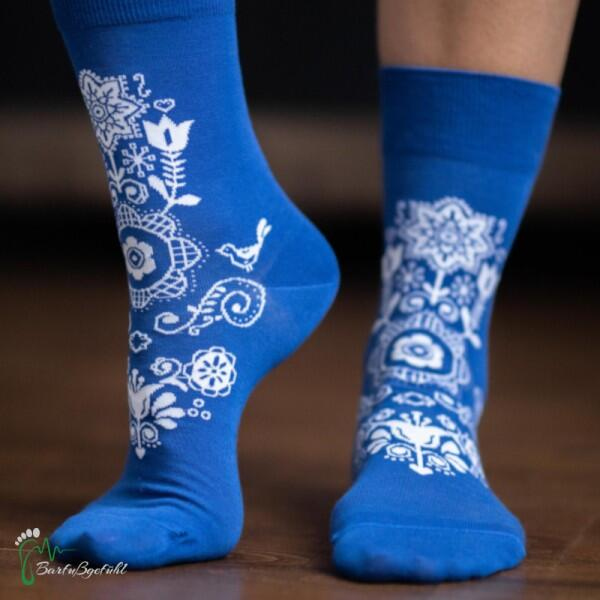 be lenka-Barfußsocken-Folk-blau